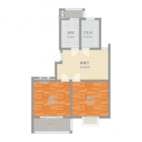 西欧名邸2室2厅1卫1厨106.00㎡户型图