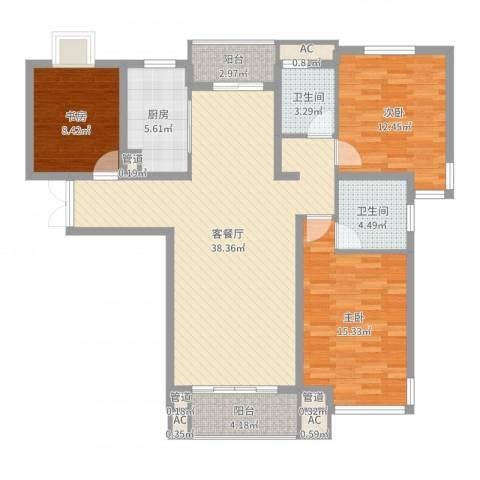 幸福天地3室2厅2卫1厨122.00㎡户型图