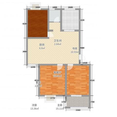 财富广场3室2厅1卫1厨97.00㎡户型图