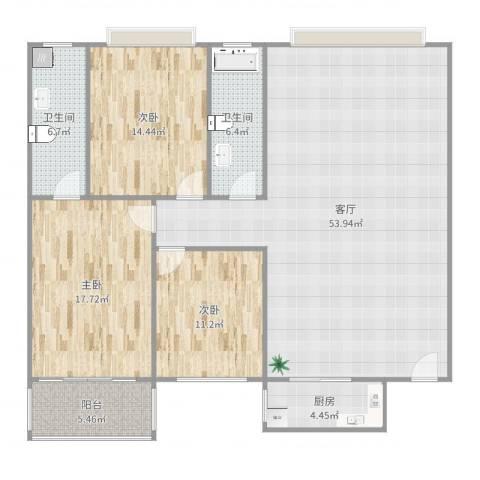 绿家园3室1厅2卫1厨120.32㎡户型图