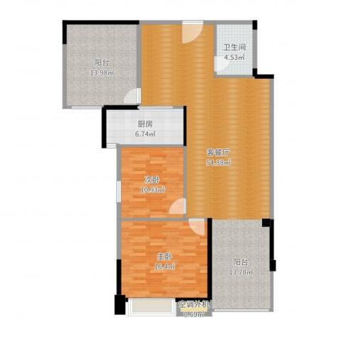 新乡星海传说2室2厅1卫1厨135.00㎡户型图