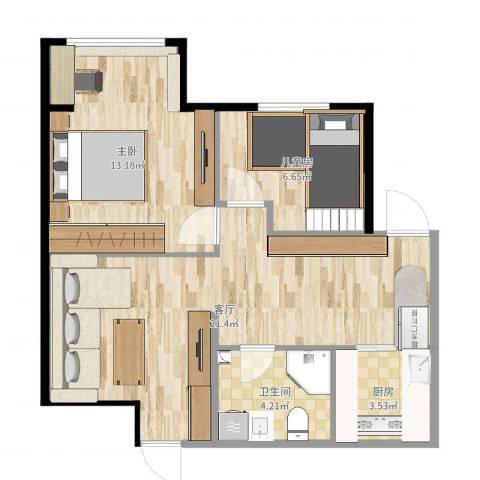 上庄馨瑞嘉园2室1厅1卫1厨61.00㎡户型图