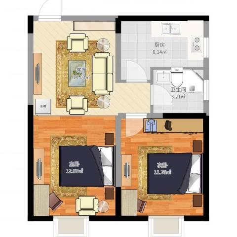 城市玫瑰园2室1厅1卫1厨58.00㎡户型图