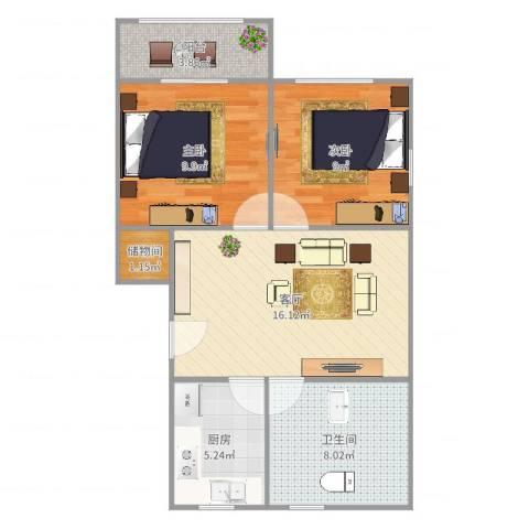 古美西路420弄小区2室1厅1卫1厨67.00㎡户型图