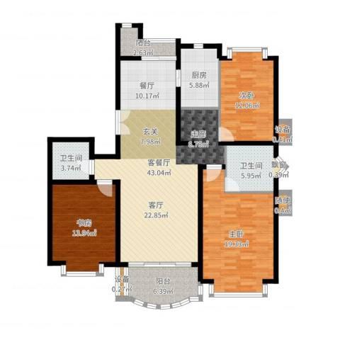 东苑世纪名门花园3室2厅2卫1厨114.04㎡户型图