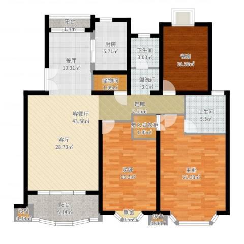 东苑世纪名门花园3室2厅2卫1厨117.91㎡户型图