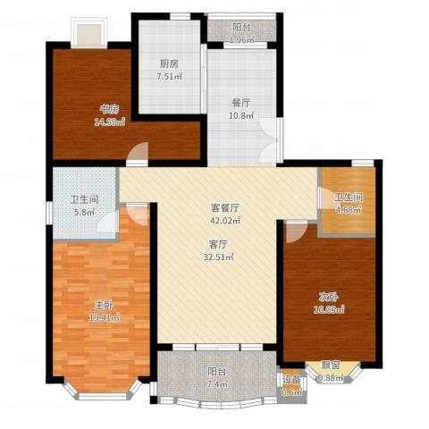 东苑世纪名门花园3室2厅2卫1厨120.00㎡户型图