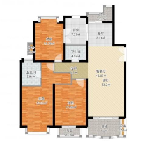 东苑世纪名门花园3室2厅2卫1厨133.07㎡户型图