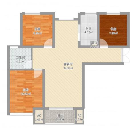 幸福天地3室2厅1卫1厨98.00㎡户型图