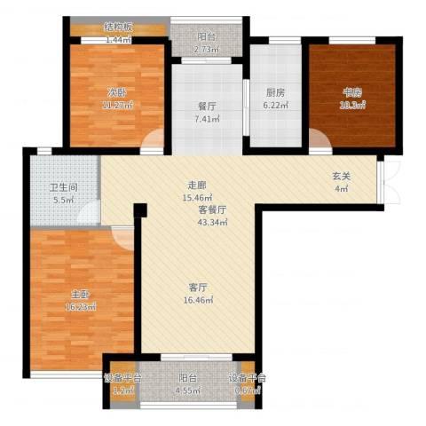 农房幸福天地3室2厅1卫1厨129.00㎡户型图
