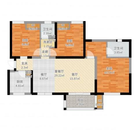 中铁缇香郡3室2厅2卫1厨104.00㎡户型图