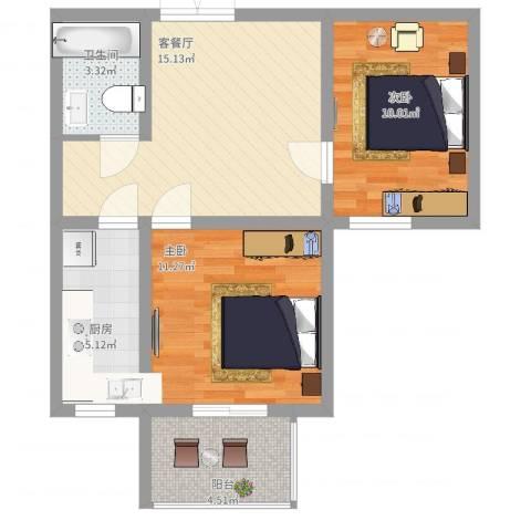 弘达明尚2室2厅1卫1厨72.00㎡户型图