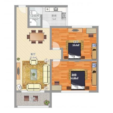 银利花苑2室1厅1卫1厨87.00㎡户型图