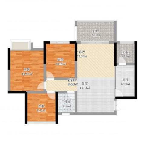 远大都市风景3室2厅1卫1厨118.00㎡户型图