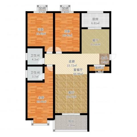 滨河悦秀3室2厅2卫1厨160.00㎡户型图