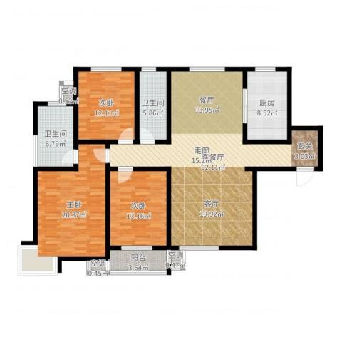 滨河悦秀3室2厅2卫1厨155.00㎡户型图