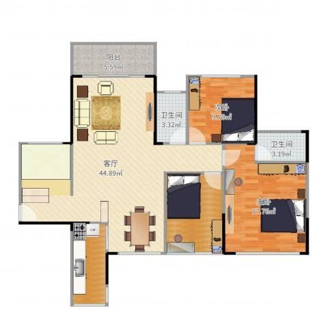 凯南莱弗城2室1厅2卫1厨126.00㎡户型图
