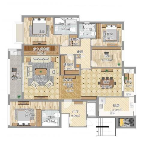九龙仓雅戈尔铂翠湾4室2厅3卫1厨241.00㎡户型图