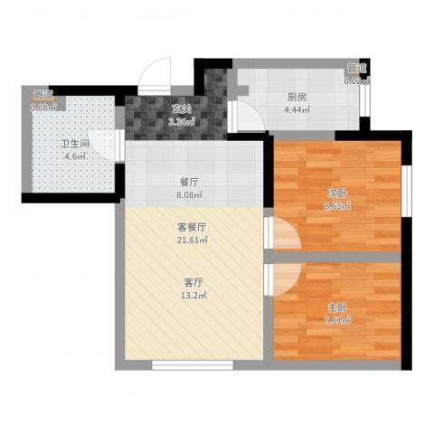 郡原小石城2室2厅1卫1厨59.00㎡户型图