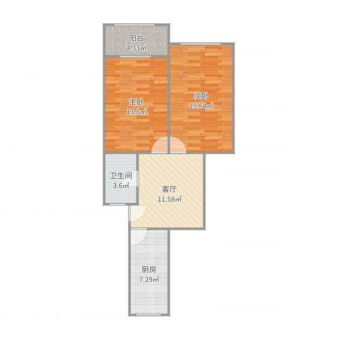 绿梅三村2室1厅1卫1厨70.00㎡户型图