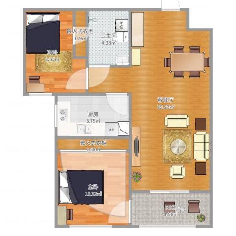 丽景御园一室一厅一厨一卫LR0032室2厅1卫1厨82.00㎡户型图