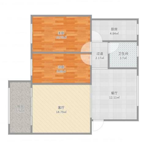 西苑小区19-3042室2厅1卫1厨79.00㎡户型图