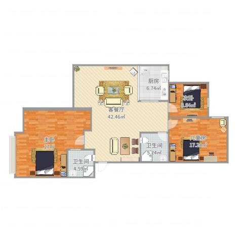 越秀区云影花园12栋401周女士3室2厅2卫1厨140.00㎡户型图