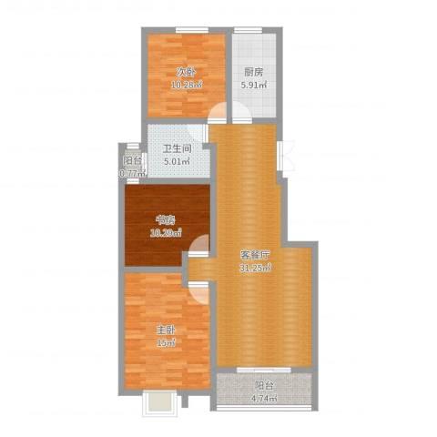 贝尔紫园3室2厅1卫1厨83.25㎡户型图