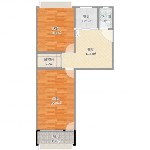 友谊社区2室1厅1卫1厨61.00㎡户型图
