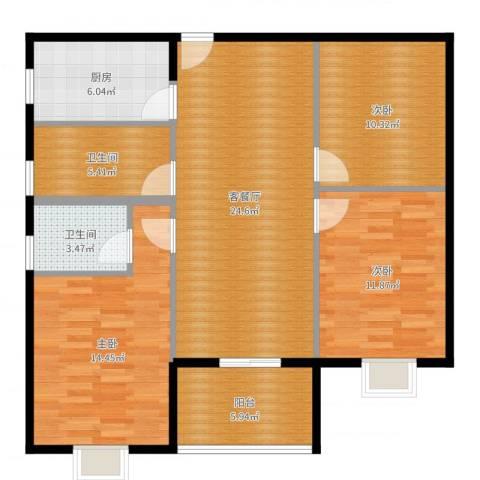 瑞康花园3室2厅2卫1厨103.00㎡户型图