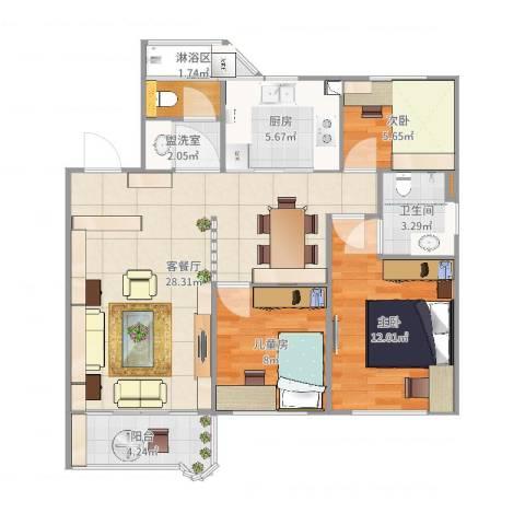 富丽公寓西区3室2厅4卫3厨91.00㎡户型图