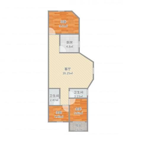 富丽公寓西区3室1厅2卫1厨72.00㎡户型图