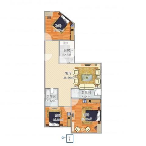 富丽公寓西区3室1厅2卫1厨124.00㎡户型图