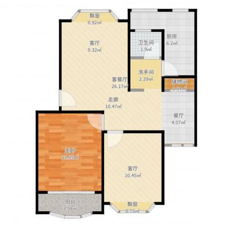 富仕名邸1室3厅1卫1厨76.00㎡户型图