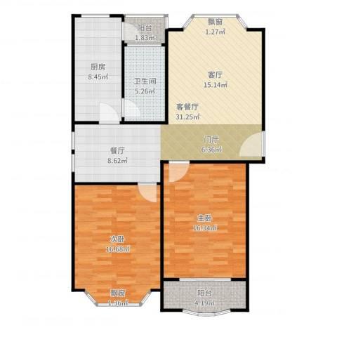 富仕名邸2室2厅1卫1厨105.00㎡户型图