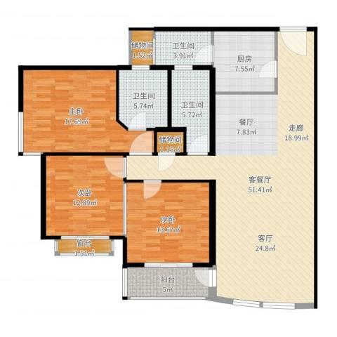 富仕名邸3室2厅3卫1厨160.00㎡户型图