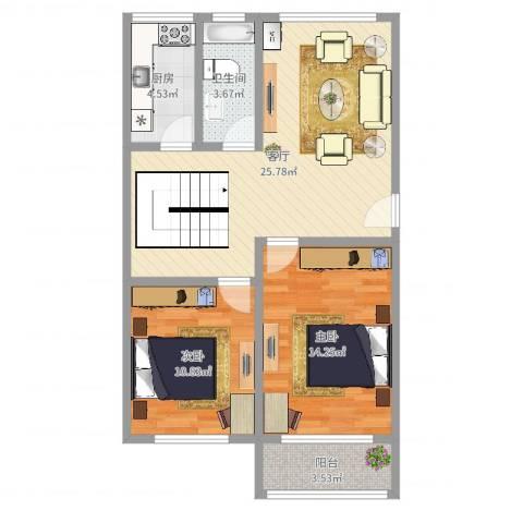 富仕名邸三期2室1厅1卫1厨78.00㎡户型图