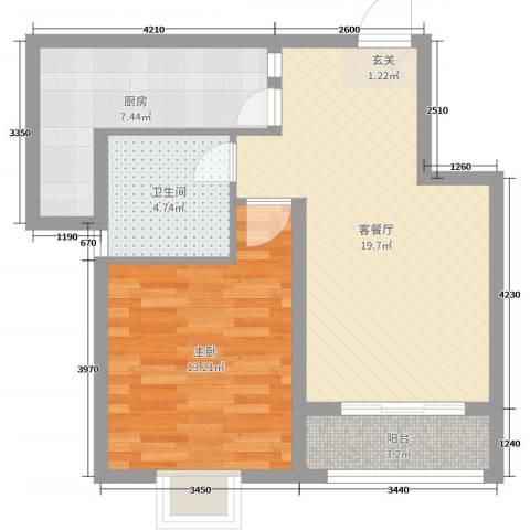 众城名府1室2厅1卫1厨60.00㎡户型图
