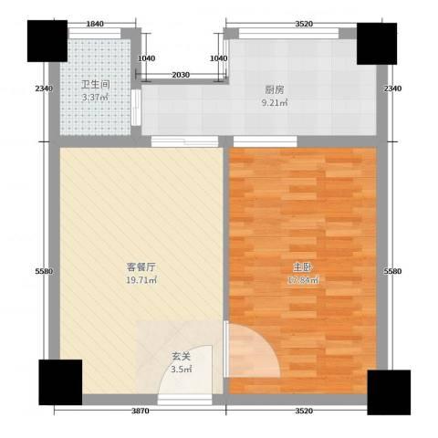 亚华桂竹花园1室2厅1卫1厨63.00㎡户型图
