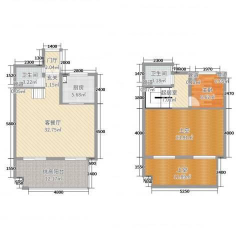 勤业镜悦府1室2厅2卫1厨108.77㎡户型图
