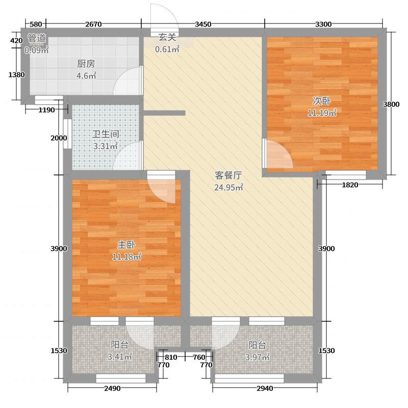 天下锦程花苑96.30㎡10号楼标准层B户型2室2厅1卫1厨