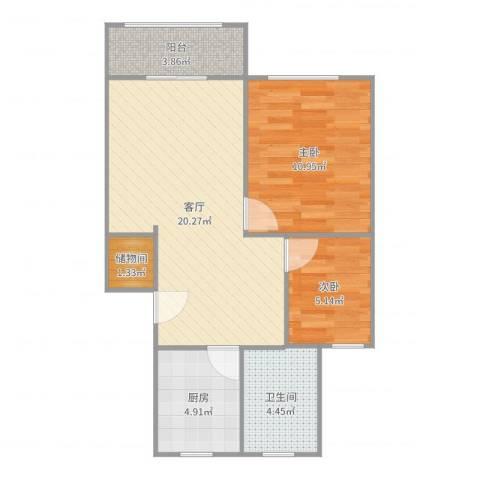 古美西路420弄小区2室1厅1卫1厨64.00㎡户型图