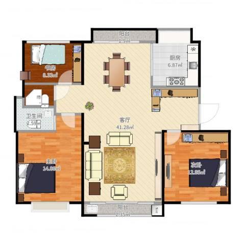 公园30003室1厅1卫1厨113.00㎡户型图