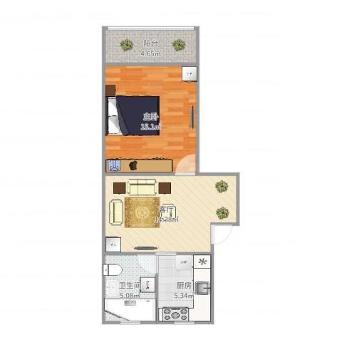 古美西路316弄小区1室1厅1卫1厨56.00㎡户型图