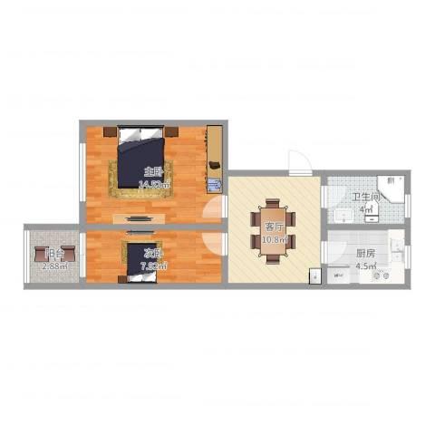 古美西路420弄小区2室1厅1卫1厨56.00㎡户型图