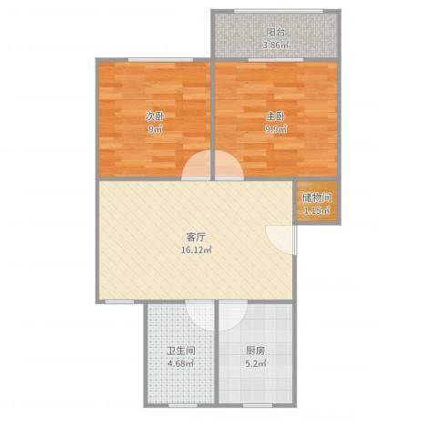 古美西路420弄小区2室1厅1卫1厨62.00㎡户型图
