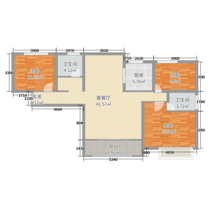 光彩国际�Z园122.00㎡户型3室3厅2卫1厨