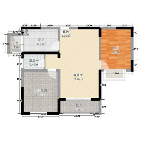 君城・紫金城1室2厅1卫1厨80.00㎡户型图