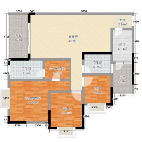 樽憬财富广场2室2厅2卫1厨139.00㎡户型图