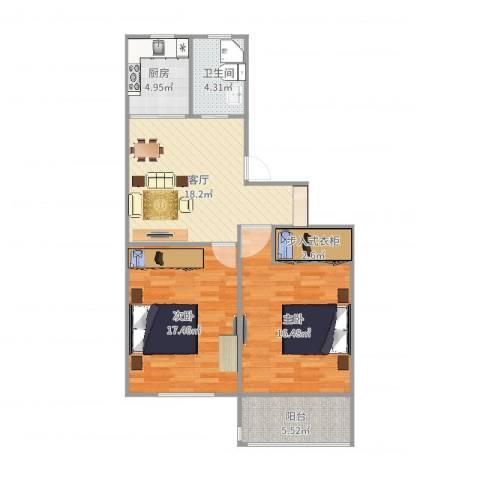 航华一村2室1厅1卫1厨87.00㎡户型图